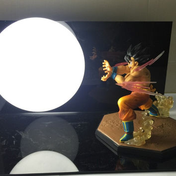 Dragon Ball Z Action Figure Son Gokou Triple Kaiouken Kamehameha Display Toy Dragonball Z Goku Figuras DBZ With Base And Bulb