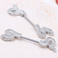 Sexy Snake Metal with Stainless Steel bar woman body jewelry Nipple bar nipple rings piercing