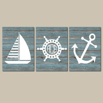 NAUTICAL Wall Art,Nautical CANVAS or Print,Ocean Bathroom Decor,Monogram Initials,Wood Coastal Boy Nursery,Anchor Sailboat Wheel Set of 3