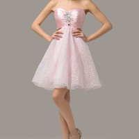 Pink Beaded Ruched Off-Shoulder Homecoming Dress