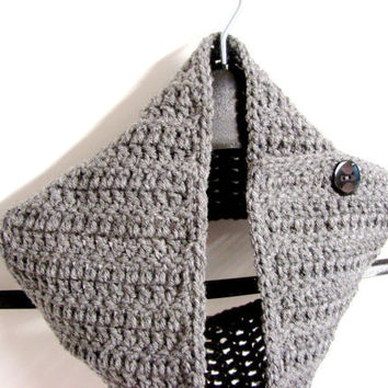 Gray Scarf Preppy Crochet Grey Scarflette by MyHobbyShop on Etsy