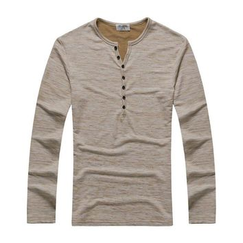 Textured Henley Tan