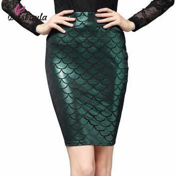Dasbayla 2017 Women Sexy skinny Bandage Pencil Midi Skirts High Stretch Fish Scale Print shiny material elastic waistband