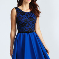 Leanne Lace Cross Back Skater Dress