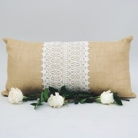 Natural Burlap Pillow with Lace Trim 12 x 24 | The Dorthy Day Pillow
