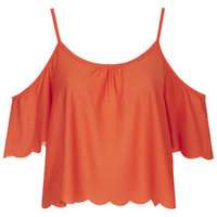 Scallop Bardot Top - Red