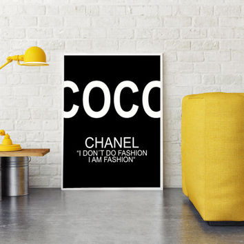 Printable Chanel Quotes, Coco Chanel Poster, Printable Wall art, Black And White, Celebrity Quote, Dorm Room Decor, Wall Decor, Fashion Art