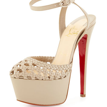 Woven Leather Platform Red Sole Sandal, Taupe