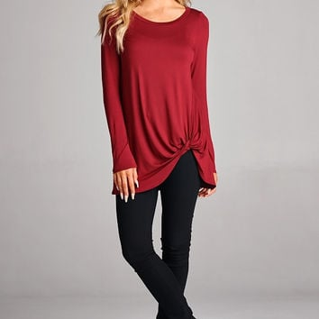Long Sleeve Twist Tunic- Red