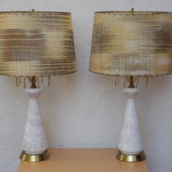 Pair Vintage Atomic White Gold Glass Table Lamps