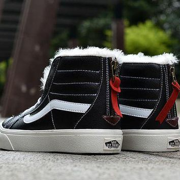 Vans Black High Top Leather With Fur Warm Casual Zipper Sneakers Sport Shoes