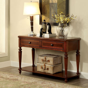 Furniture of america CM4307S Samira collection walnut finish wood sofa console entry table with drawers
