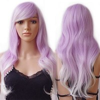 Rainbow Women Ladies Long Curly Wavy Synthetic Wig Heat Resistant Cosplay Party Anime Fancy USASTC