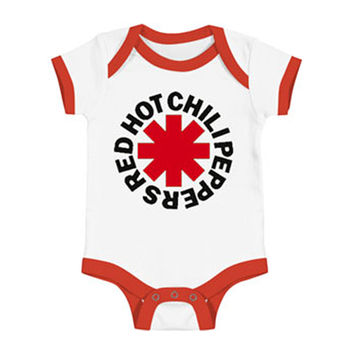 Red Hot Chili Peppers Boys' Asterisk Logo Onesuit Bodysuit White
