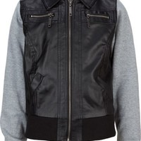 FULL TILT Fleece Sleeve Faux Leather Girls Jacket
