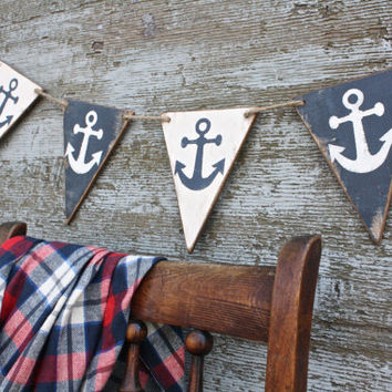 FREE SHIP Wood Anchor Banner Nautical Boating Pennant Beach Tags Signs