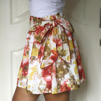 Summer Skirt in pastel color coral and mustard by LoNaDesign
