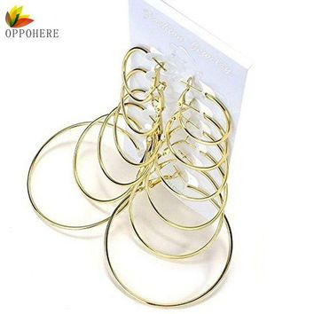 ac spbest OPPOHERE 6 Pair/set Vintage Gold Color Big Circle Hoop Earrings for Women Steampunk Ear Clip Party Jewelry Accessories Gift