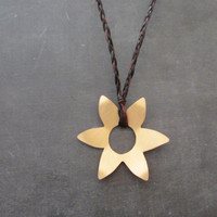 Metal Flower Pendant, Handmade Brass Daisy Necklace