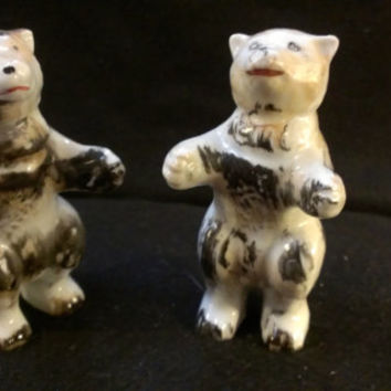 Bear Salt and Pepper Shakers Made in Japan. (296)