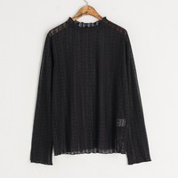 See-Through Lace Tee, Black