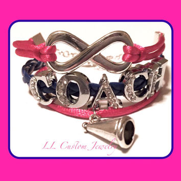 Infinity COACH Rhinetone Bracelet w/ Cheer Charm - Cheer, Dance, Football, Basketball, Baseball, Sport Mom, etc