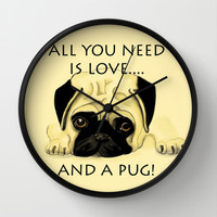 Love and a Pug Wall Clock by Veronica Ventress