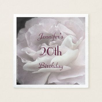 Pale Pink Rose Paper Napkins, 20th Birthday Party Paper Napkin