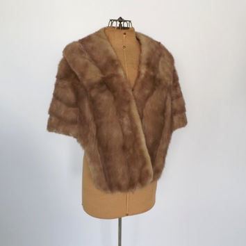 Vintage 1950s 1960s Kaufmann's Mink Cape Shawl Brown Tan Fur Stole Fur Wrap Mad Men Fall Cloak Flapper Pin Up Wedding  Dress Cover Up