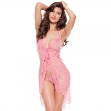 See-Through Open Front Nightdress Pink