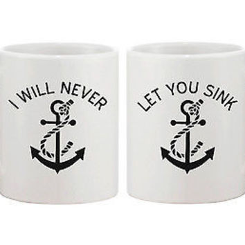 Anchor Matching BFF Coffee Mugs for Best Friend - I Will Never Let You Sink