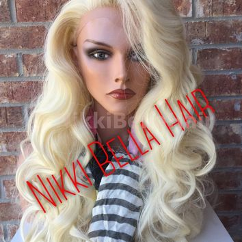 Laura Platinum Blonde Human Hair Blend Lace Swiss Front Wig 22""