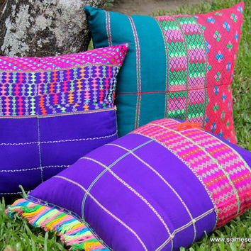 XL Floor Pillow / Boho Cushion Cover in Colorful Ethnic Karen Hand Woven Cotton