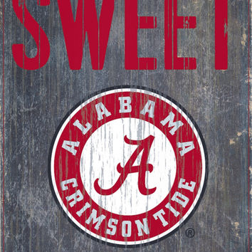 "Alabama Crimson Tide Wood Sign - Home Sweet Home 6""x12"""