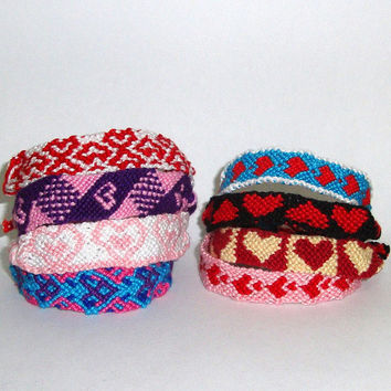 Friendship Bracelet Grab Bag - Heart Patterned - Get 3 Mystery Bracelets - Valentine's Day