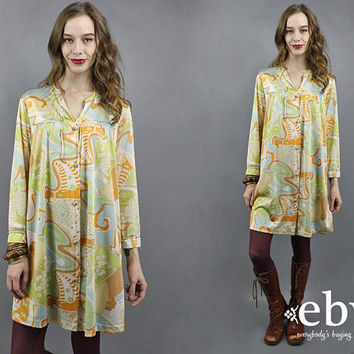 70s Nightgown 1970s Nightgown Vintage Lingerie Hippie Gown Psychedelic Gown 1970s Lingerie 70s Lingerie Bed Dress 70s Pajamas L XL