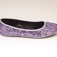 Sequin Lavender Purple Slipper Ballet Flats Custom Shoes