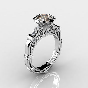 Art Masters Caravaggio 14K White Gold 1.0 Ct Champagne and White Diamond Engagement Ring R623-14KWGDCHD