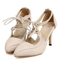 Sexy Beige Pointed Toe Cross Laced Up Cutout High Heels Pumps
