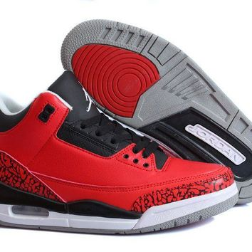 New Air Jordan 3 Retro Custom Chicago Bulls Red/black Jordan 3 Bulls - Beauty Ticks