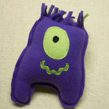 Monster Baby - Small Plush Fabric Monster Doll - Purple and Green