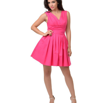 Iconic by UV 1950s Style Hot Pink Sleeveless Diane Flare Dress