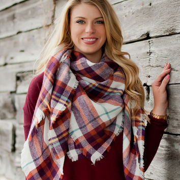 Purple and Rust Blanket Scarf