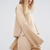 House Of Sunny Deep V Neck Top In Suedette Co-Ord at asos.com