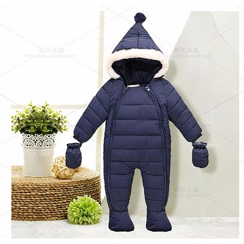 Down Cotton Baby Rompers Winter Thick Boys Costume Girls Warm Infant Snowsuit Kid Jumpsuit Children Outerwear Baby Wear