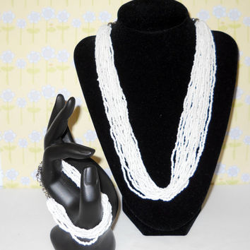 Vintage White Glass Seed Bead Bracelet and Necklace Set - Fine Fashion - Jewelry - Summer Time