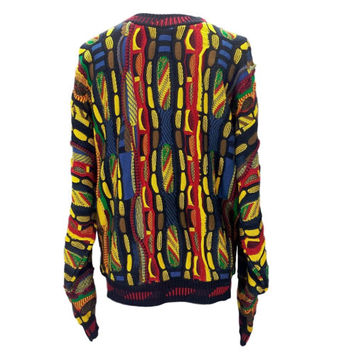 Vintage Protege Sweater Colorful 90s Hip Hop Biggie Cosby Coogi Style MultiColor Chunky Textured 3D Abstract Art Knit Crewneck Mens Ugly
