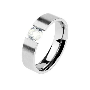 The Only One - Couples Stainless Steel Clear CZ Solitaire Band