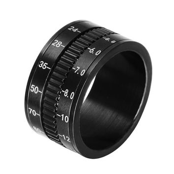 Men Finger Rings in Black Stainless Steel SLR Telephoto Spinner Ring Lens Focus Band Male Jewelry Photographers Accessories