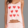 Heart Print Spaghetti Strap Cropped Top Shorts Set
